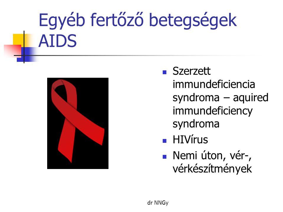 Egyéb fertőző betegségek AIDS  Szerzett immundeficiencia syndroma – aquired immundeficiency syndroma  HIVírus  Nemi úton, vér-, vérkészítmények dr NNGy
