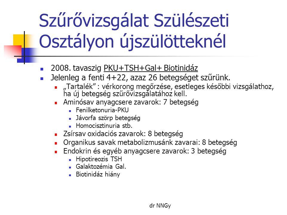 dr NNGy Szűrővizsgálat Szülészeti Osztályon újszülötteknél  2008. tavaszig PKU+TSH+Gal+ Biotinidáz  Jelenleg a fenti 4+22, azaz 26 betegséget szűrün