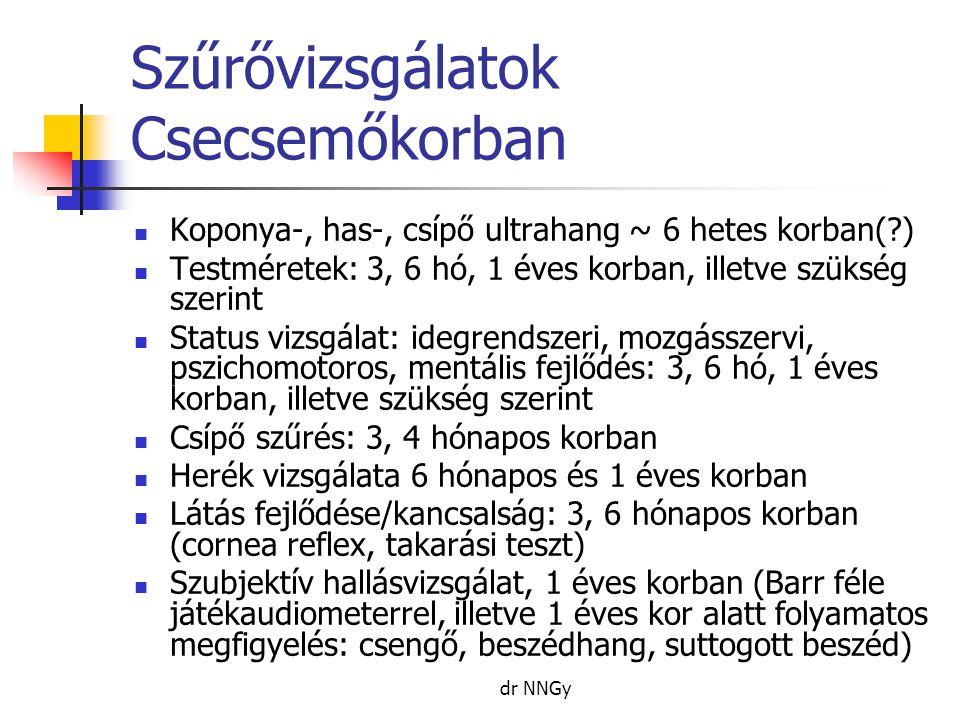 dr NNGy Szűrővizsgálatok Csecsemőkorban  Koponya-, has-, csípő ultrahang ~ 6 hetes korban(?)  Testméretek: 3, 6 hó, 1 éves korban, illetve szükség szerint  Status vizsgálat: idegrendszeri, mozgásszervi, pszichomotoros, mentális fejlődés: 3, 6 hó, 1 éves korban, illetve szükség szerint  Csípő szűrés: 3, 4 hónapos korban  Herék vizsgálata 6 hónapos és 1 éves korban  Látás fejlődése/kancsalság: 3, 6 hónapos korban (cornea reflex, takarási teszt)  Szubjektív hallásvizsgálat, 1 éves korban (Barr féle játékaudiometerrel, illetve 1 éves kor alatt folyamatos megfigyelés: csengő, beszédhang, suttogott beszéd)