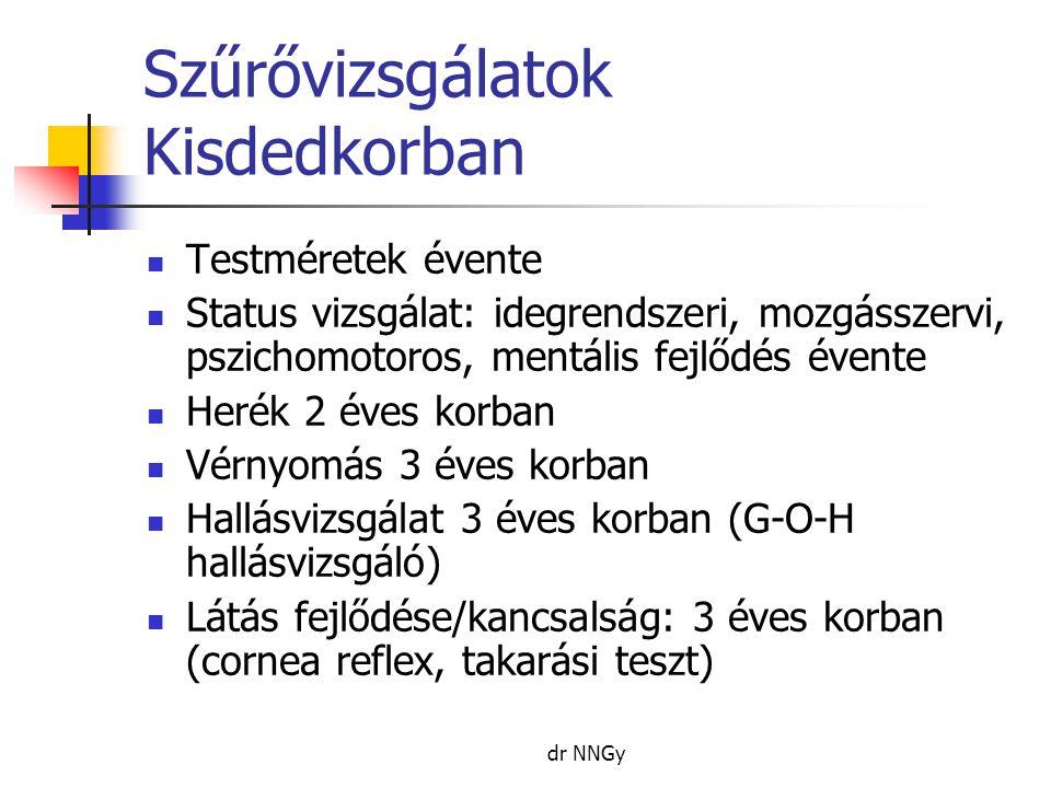 dr NNGy Szűrővizsgálatok Kisdedkorban  Testméretek évente  Status vizsgálat: idegrendszeri, mozgásszervi, pszichomotoros, mentális fejlődés évente  Herék 2 éves korban  Vérnyomás 3 éves korban  Hallásvizsgálat 3 éves korban (G-O-H hallásvizsgáló)  Látás fejlődése/kancsalság: 3 éves korban (cornea reflex, takarási teszt)
