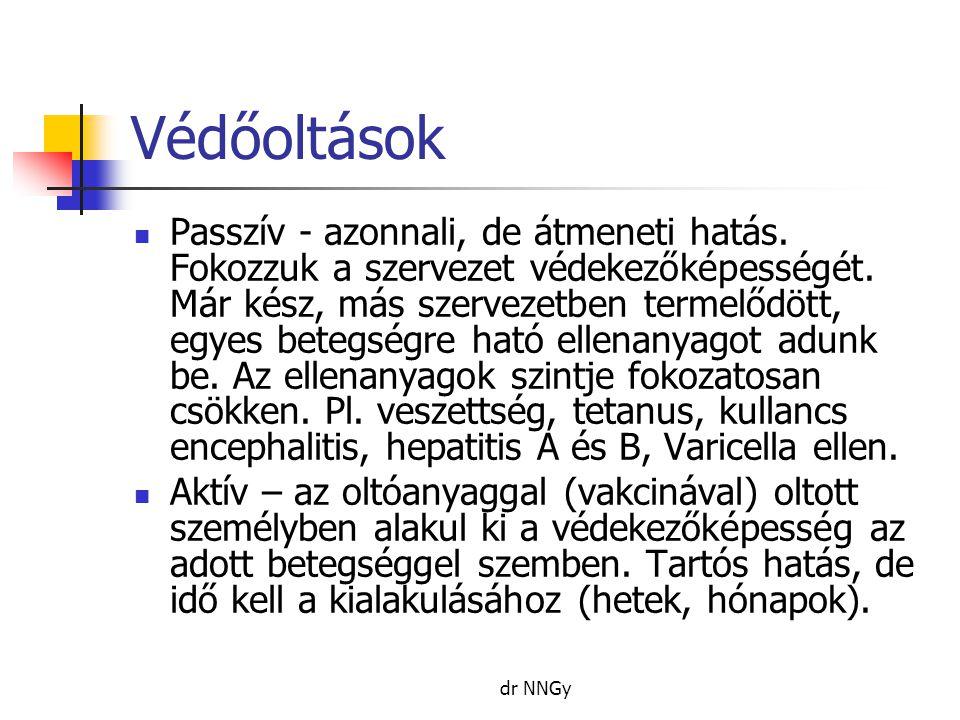 dr NNGy Védőoltások  Passzív - azonnali, de átmeneti hatás.