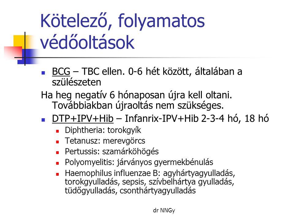 dr NNGy Kötelező, folyamatos védőoltások  BCG – TBC ellen. 0-6 hét között, általában a szülészeten Ha heg negatív 6 hónaposan újra kell oltani. Továb