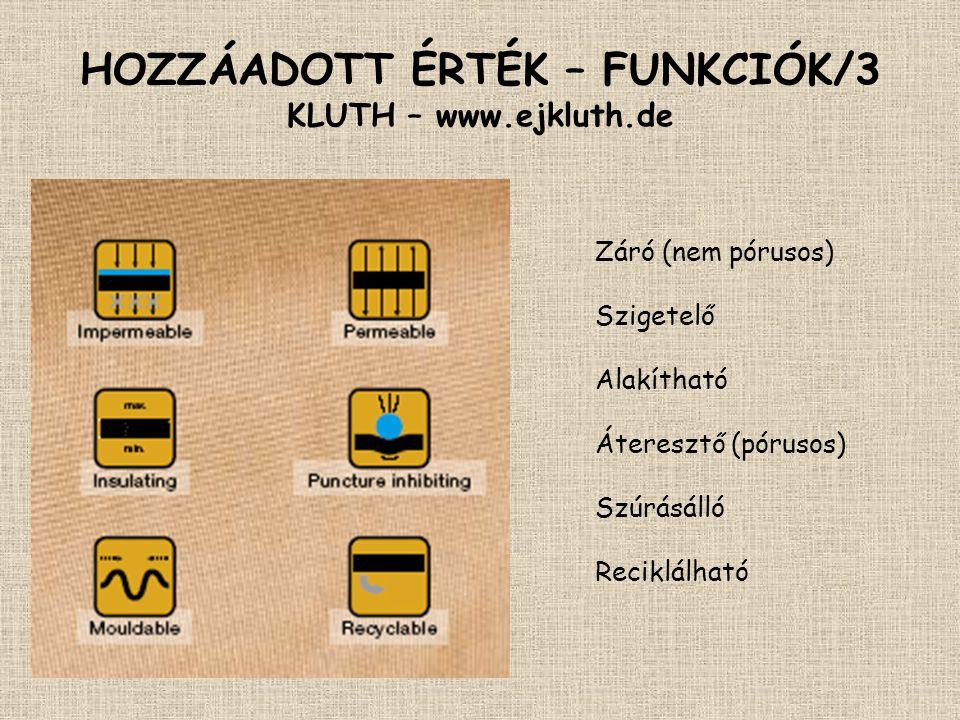HOZZÁADOTT ÉRTÉK – FUNKCIÓK/3 KLUTH – www.ejkluth.de Záró (nem pórusos) Szigetelő Alakítható Áteresztő (pórusos) Szúrásálló Reciklálható