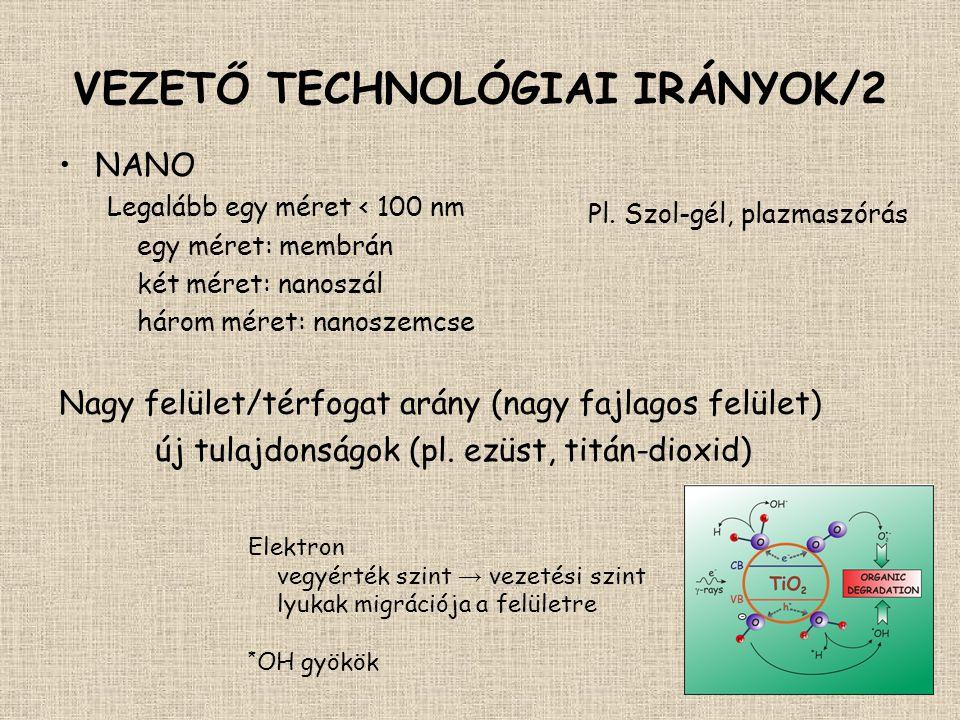 VEZETŐ TECHNOLÓGIAI IRÁNYOK/2 •NANO Legalább egy méret < 100 nm egy méret: membrán két méret: nanoszál három méret: nanoszemcse Nagy felület/térfogat
