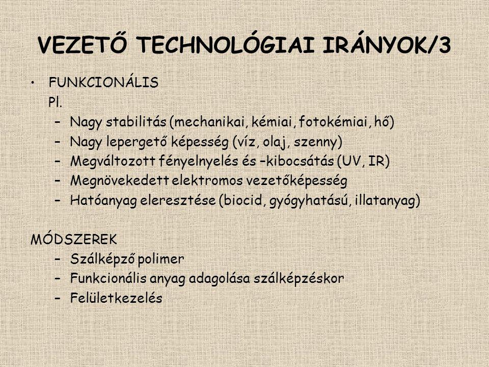 ÁTTEKINTÉS •Vezető technológiai irányok – fogalmak –bio –nano –funkcionális –intelligens •Funkcionális textíliák felületkezeléssel (pl.