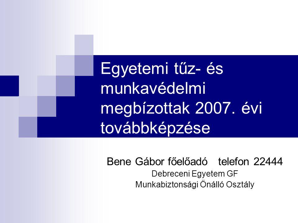 Egyetemi tűz- és munkavédelmi megbízottak 2007. évi továbbképzése Bene Gábor főelőadó telefon 22444 Debreceni Egyetem GF Munkabiztonsági Önálló Osztál