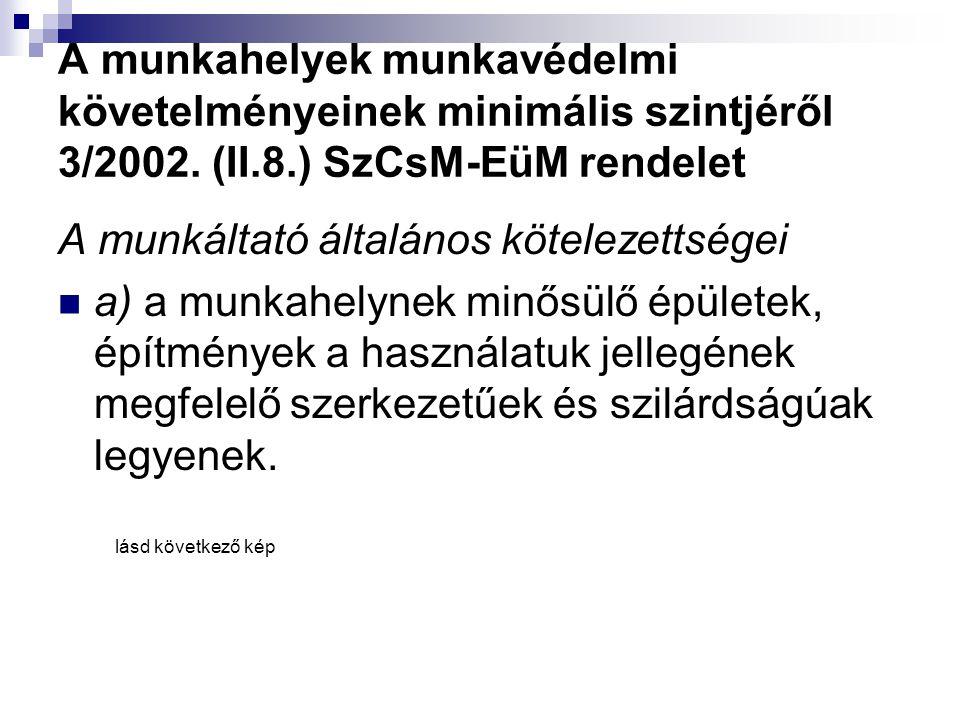 A munkahelyek munkavédelmi követelményeinek minimális szintjéről 3/2002. (II.8.) SzCsM-EüM rendelet A munkáltató általános kötelezettségei  a) a munk