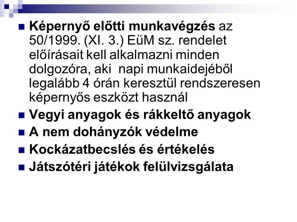  Képernyő előtti munkavégzés az 50/1999. (XI. 3.) EüM sz. rendelet előírásait kell alkalmazni minden dolgozóra, aki napi munkaidejéből legalább 4 órá
