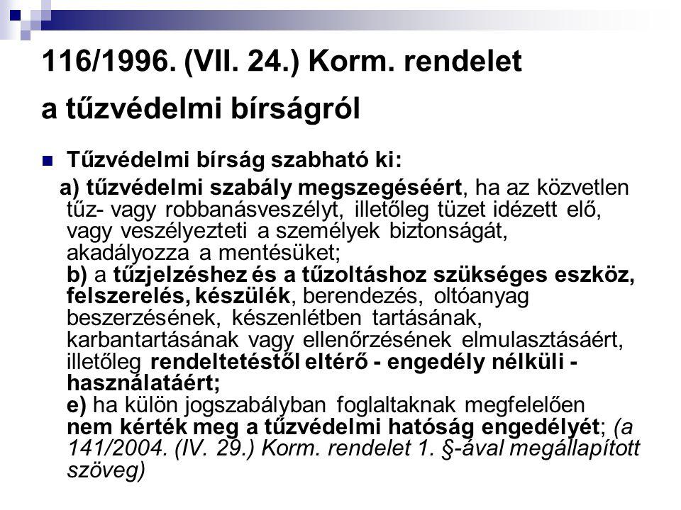116/1996. (VII. 24.) Korm. rendelet a tűzvédelmi bírságról  Tűzvédelmi bírság szabható ki: a) tűzvédelmi szabály megszegéséért, ha az közvetlen tűz-