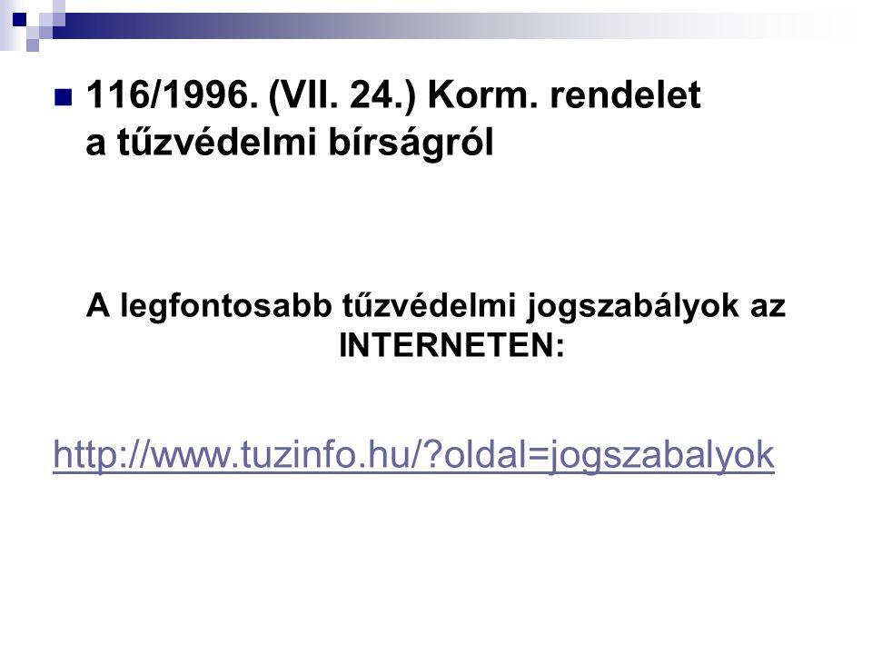  116/1996. (VII. 24.) Korm. rendelet a tűzvédelmi bírságról A legfontosabb tűzvédelmi jogszabályok az INTERNETEN: http://www.tuzinfo.hu/?oldal=jogsza