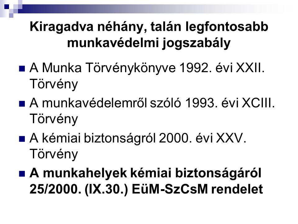 Kiragadva néhány, talán legfontosabb munkavédelmi jogszabály  A Munka Törvénykönyve 1992. évi XXII. Törvény  A munkavédelemről szóló 1993. évi XCIII