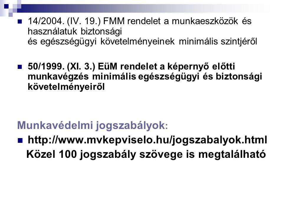  14/2004. (IV. 19.) FMM rendelet a munkaeszközök és használatuk biztonsági és egészségügyi követelményeinek minimális szintjéről  50/1999. (XI. 3.)
