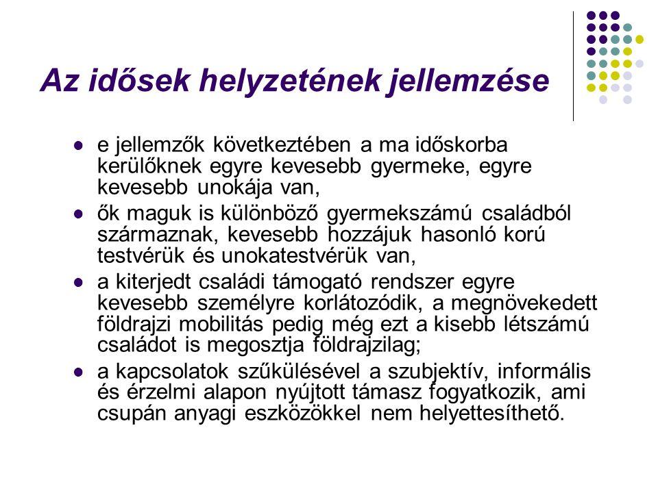 Összefoglalva a magyarországi demográfiai jellemzőinket, a következők emelhetők ki  öregedő és fogyó népesség;  fogyó családok;  a válások növekvő száma;  csökkenő gyermekszám;  növekvő női arány;  növekvő férfihalálozás;  növekvő női krónikus betegségek;  növekvő rászorultság;  növekvő regionális különbözőségek;  egészség és életminőség vonatkozásában növekvő esélyszóródás és kockázatfokozódás.
