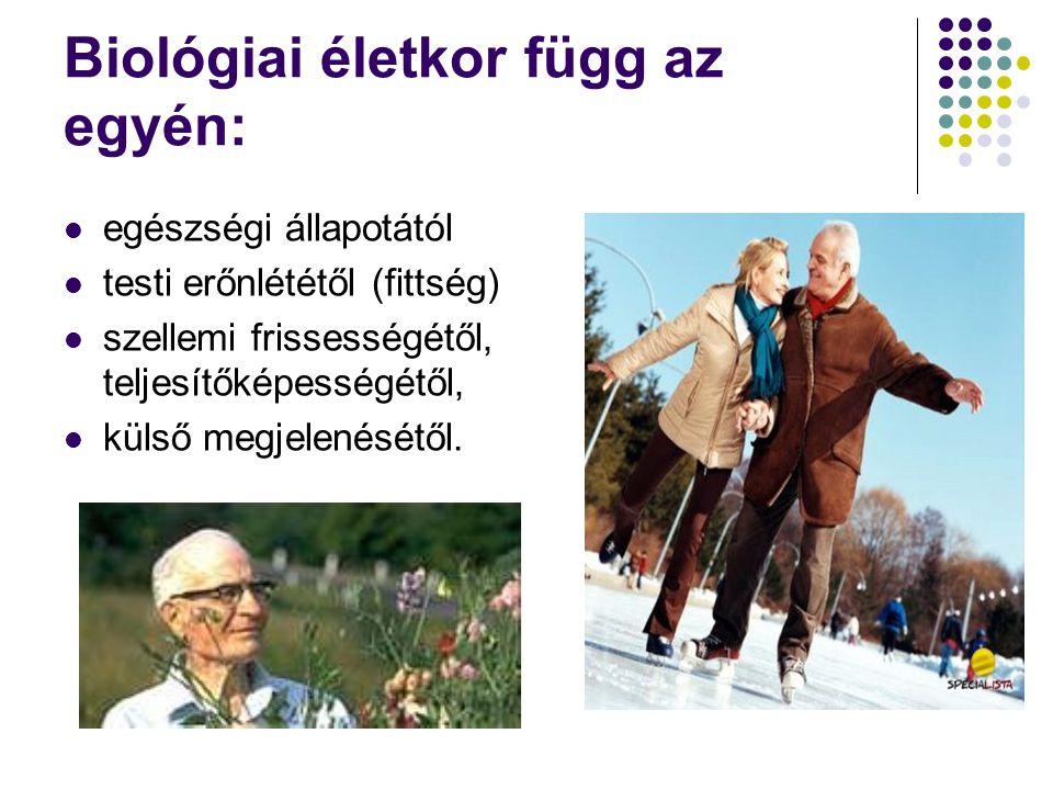  50-60 év: áthajlás kora,  60-75 év: idősödés kora,  75-90 év: időskor,  90 fölött: aggkor,  100 év felett: matuzsálemi kor.