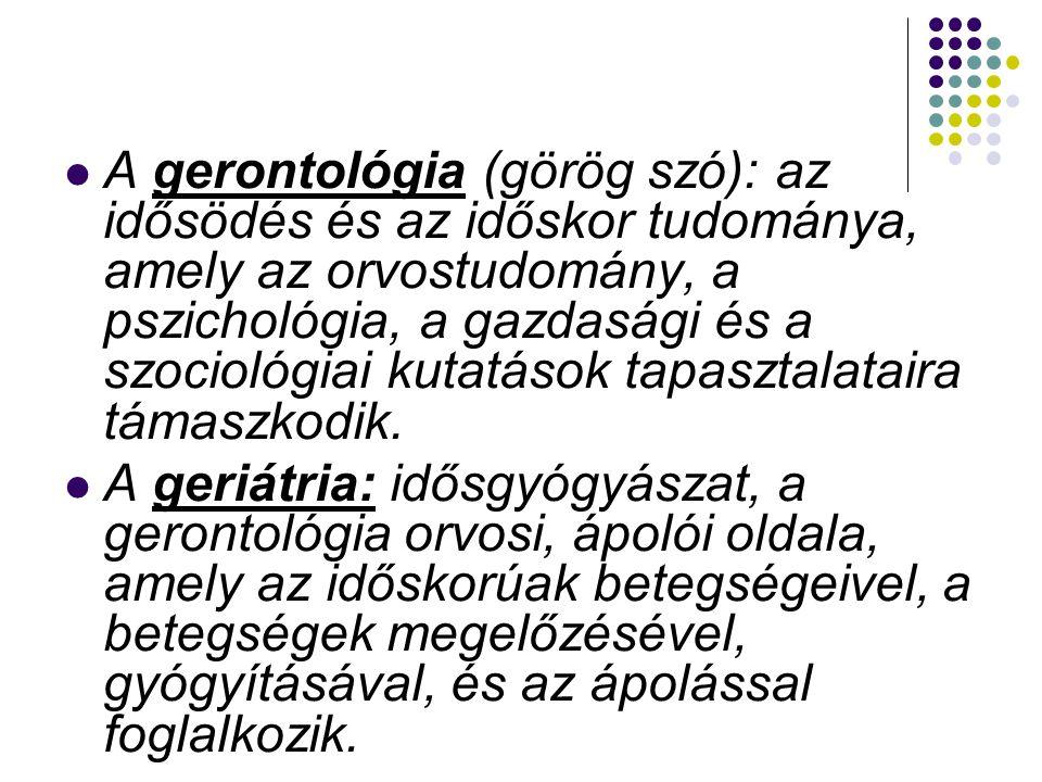  gero = öregkor  gerontesz = öregek, görög eredetű szó