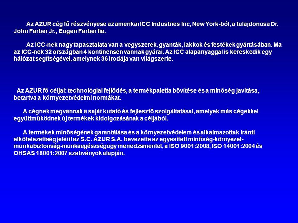 Az AZUR cég fő részvényese az amerikai ICC Industries Inc, New York-ból, a tulajdonosa Dr. John Farber Jr., Eugen Farber fia. Az ICC-nek nagy tapaszta