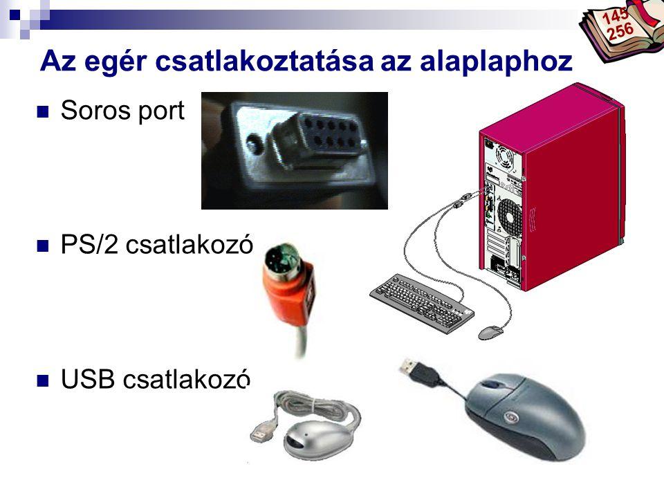 Bóta Laca  Soros port  PS/2 csatlakozó  USB csatlakozó Az egér csatlakoztatása az alaplaphoz 145 256