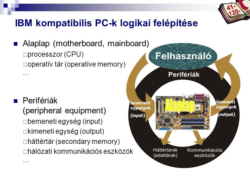 Bóta Laca bemeneti egységek (input) kimeneti egységek (output) IBM kompatibilis PC-k logikai felépítése  Alaplap (motherboard, mainboard)  processzor (CPU)  operatív tár (operative memory)...