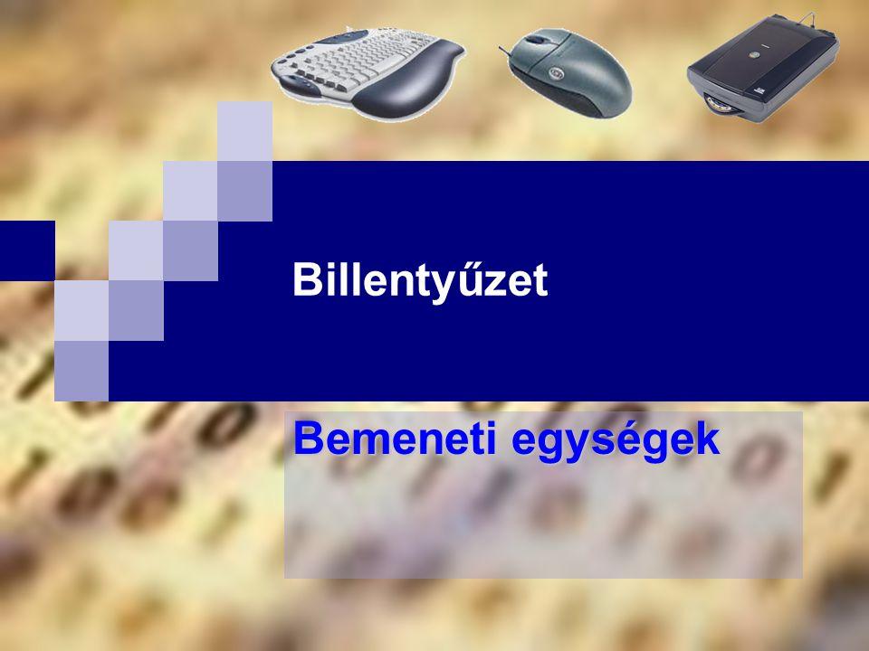 Bóta Laca Mutatóeszközök – egér (mouse)  az emberi mutogatást kódolhatjuk vele, azaz mutatóeszköz, így a grafikus felületű rendszerek kiemelten fontos adatbeviteli eszköze  Fajtái:  optomechanikus egér (optomechanical mouse)  optikai egér (optical mouse)  hanyattegér (trackball)  Egyéb mutatóeszközök:  tollegér (penmouse)  érintőpad (touchpad)  érintőképernyő (touchscreen) 145 256
