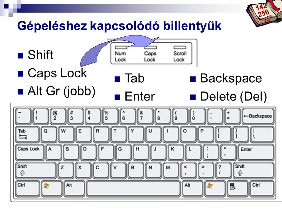 Bóta Laca Funkciót módosító billentyűk  Shift  Ctrl  Alt  Windows  Ctrl  Alt 142 256