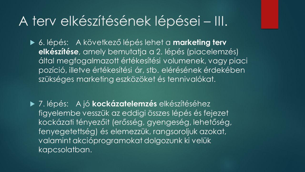 A terv elkészítésének lépései – III.  6. lépés:A következő lépés lehet a marketing terv elkészítése, amely bemutatja a 2. lépés (piacelemzés) által m