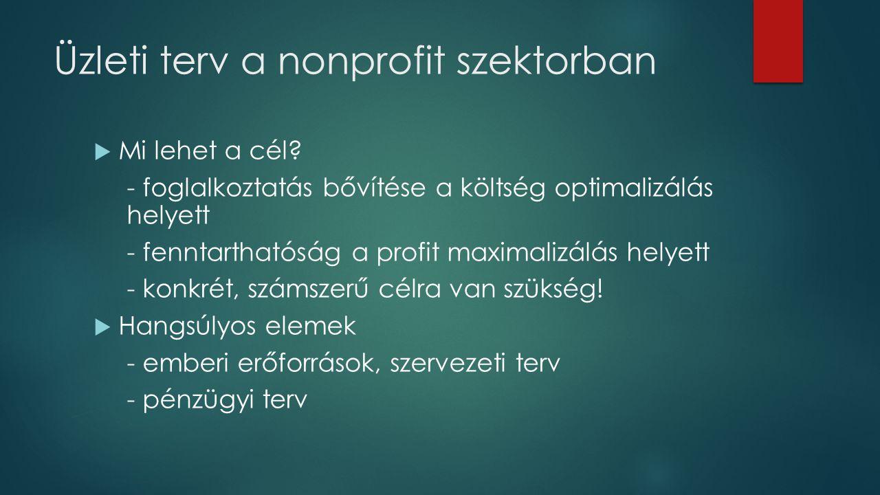 Üzleti terv a nonprofit szektorban  Mi lehet a cél? - foglalkoztatás bővítése a költség optimalizálás helyett - fenntarthatóság a profit maximalizálá