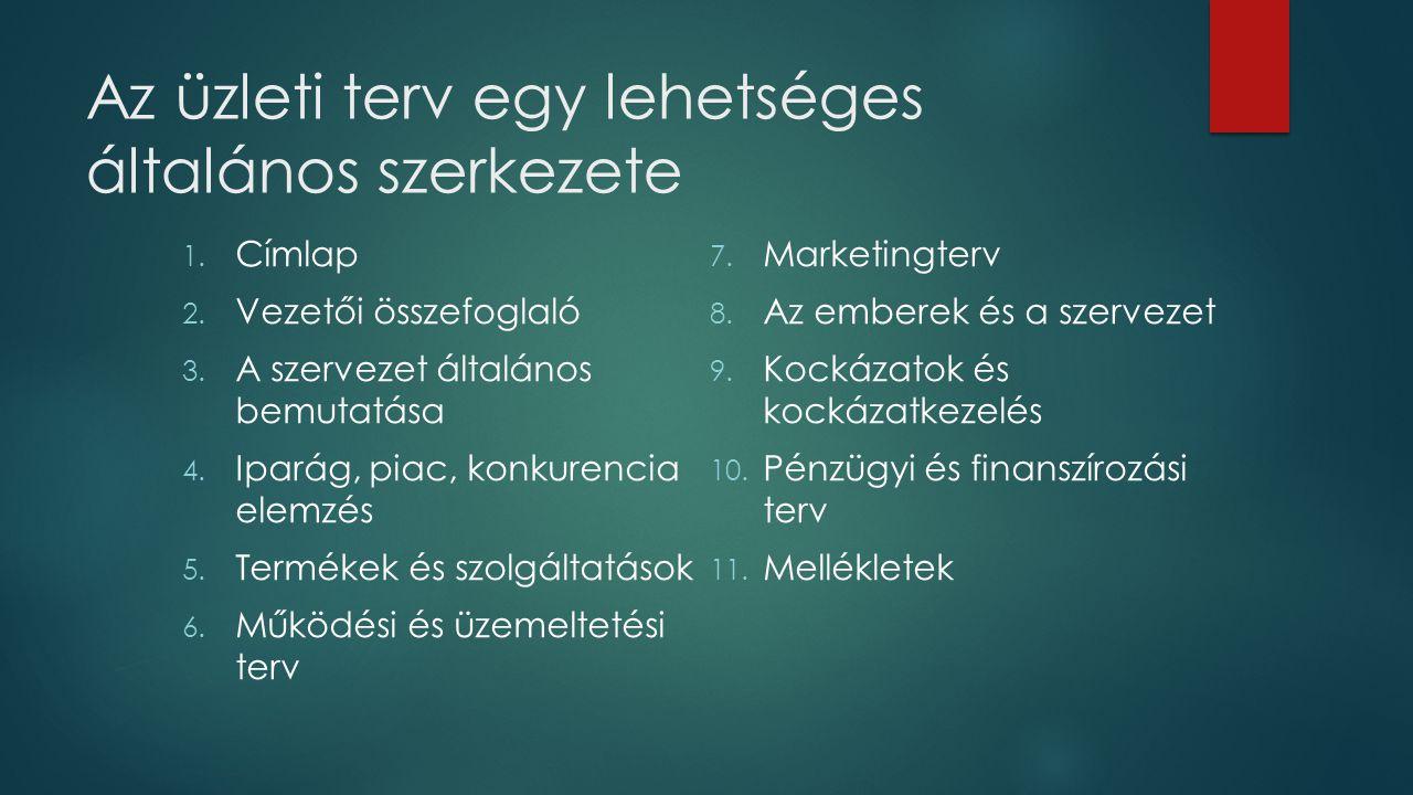 Az üzleti terv egy lehetséges általános szerkezete 1. Címlap 2. Vezetői összefoglaló 3. A szervezet általános bemutatása 4. Iparág, piac, konkurencia
