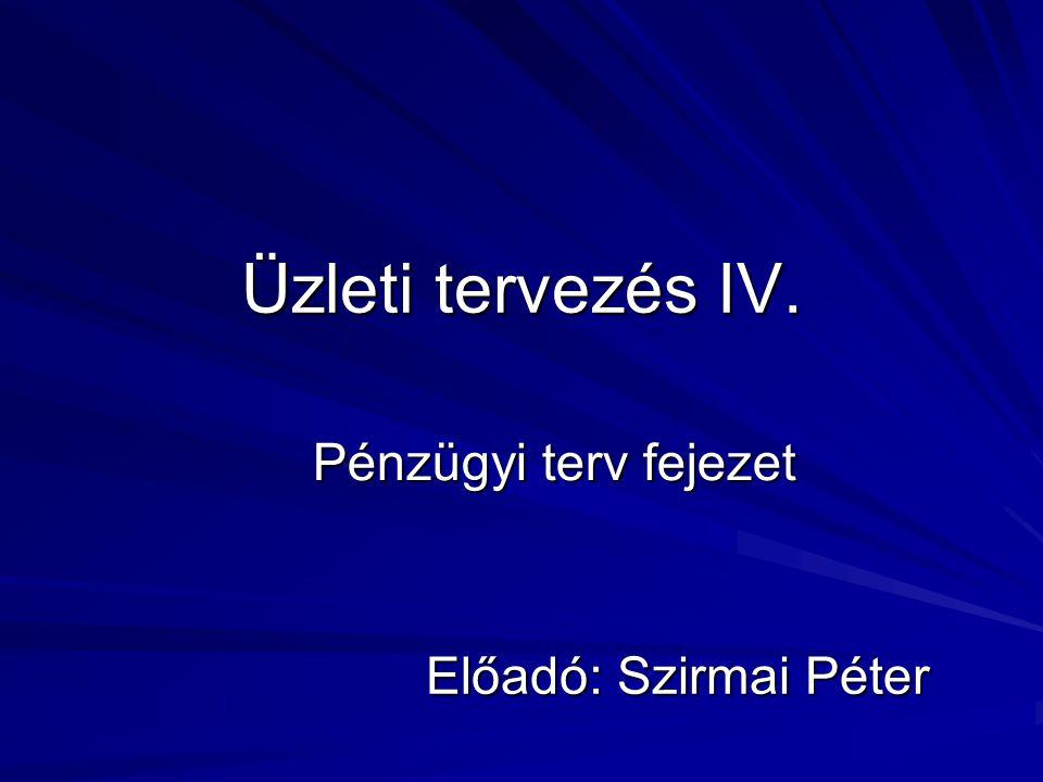 Üzleti tervezés IV. Előadó: Szirmai Péter Pénzügyi terv fejezet
