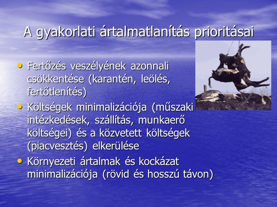A gyakorlati ártalmatlanítás prioritásai • Fertőzés veszélyének azonnali csökkentése (karantén, leölés, fertőtlenítés) • Költségek minimalizációja (műszaki intézkedések, szállítás, munkaerő költségei) és a közvetett költségek (piacvesztés) elkerülése • Környezeti ártalmak és kockázat minimalizációja (rövid és hosszú távon)