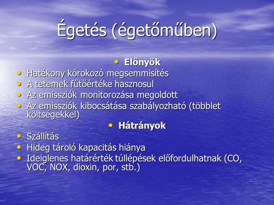 Égetés (égetőműben) • Előnyök • Hatékony kórokozó megsemmisítés • A tetemek fűtőértéke hasznosul • Az emissziók monitorozása megoldott • Az emissziók kibocsátása szabályozható (többlet költségekkel) • Hátrányok • Szállítás • Hideg tároló kapacitás hiánya • Ideiglenes határérték túllépések előfordulhatnak (CO, VOC, NOX, dioxin, por, stb.)