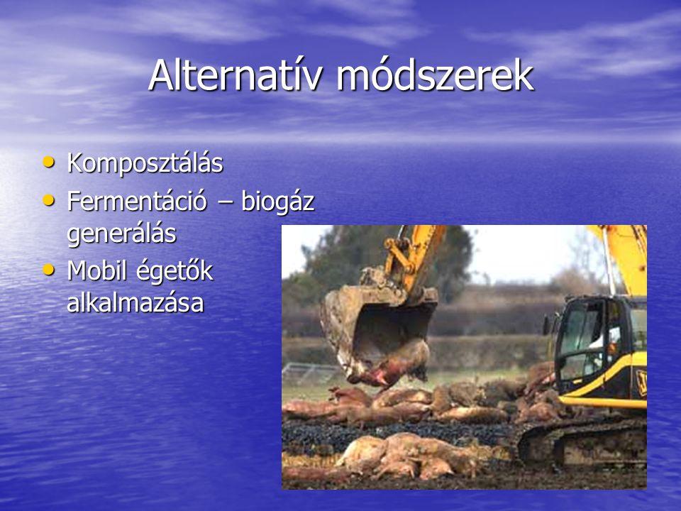 Alternatív módszerek • Komposztálás • Fermentáció – biogáz generálás • Mobil égetők alkalmazása