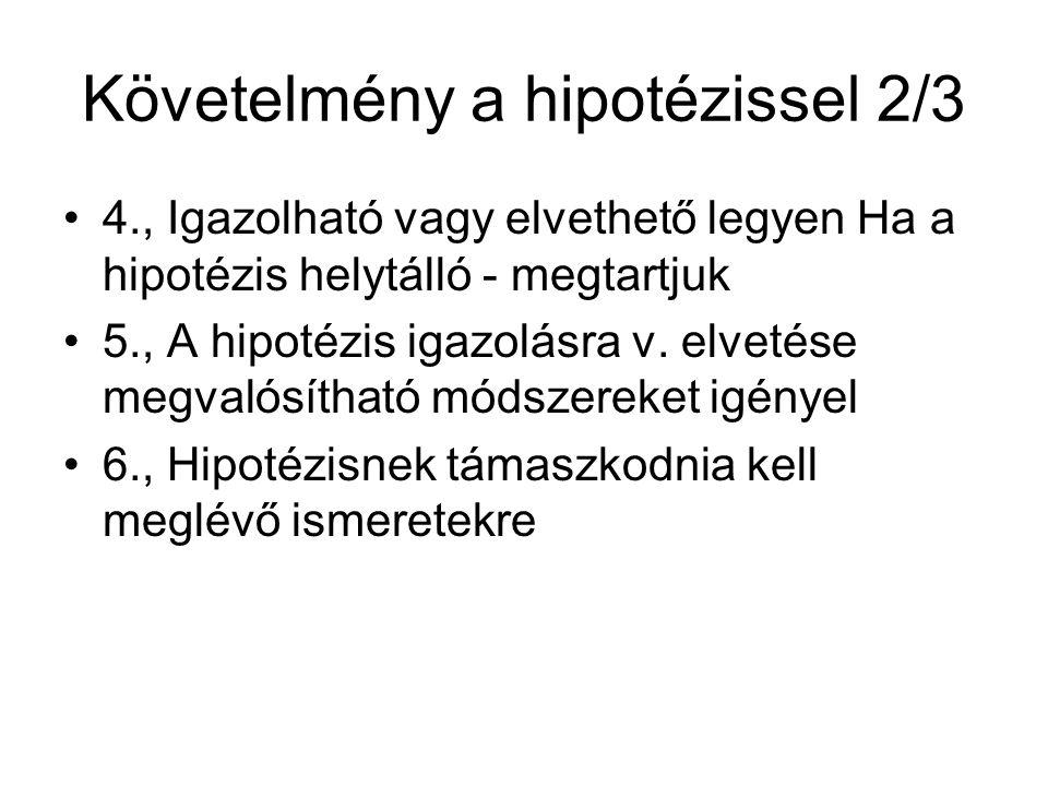 Követelmény a hipotézissel 2/3 •4., Igazolható vagy elvethető legyen Ha a hipotézis helytálló - megtartjuk •5., A hipotézis igazolásra v.