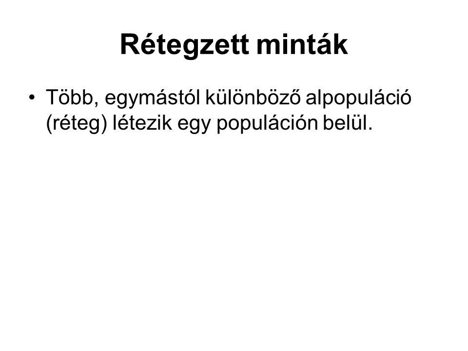 Rétegzett minták •Több, egymástól különböző alpopuláció (réteg) létezik egy populáción belül.