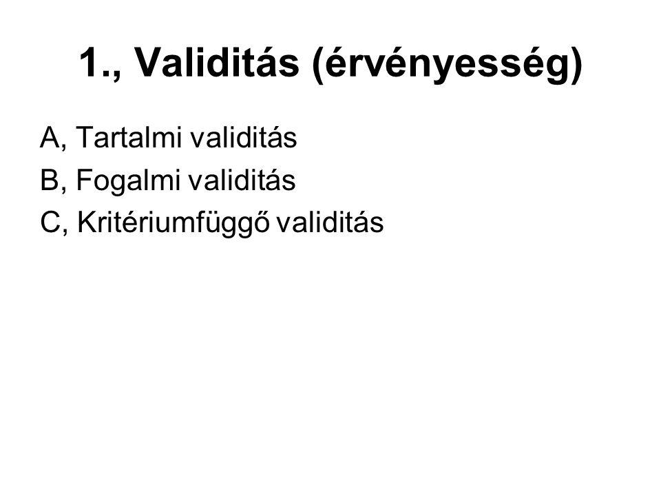1., Validitás (érvényesség) A, Tartalmi validitás B, Fogalmi validitás C, Kritériumfüggő validitás