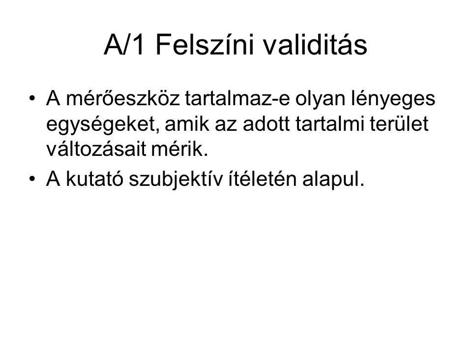 A/1 Felszíni validitás •A mérőeszköz tartalmaz-e olyan lényeges egységeket, amik az adott tartalmi terület változásait mérik.