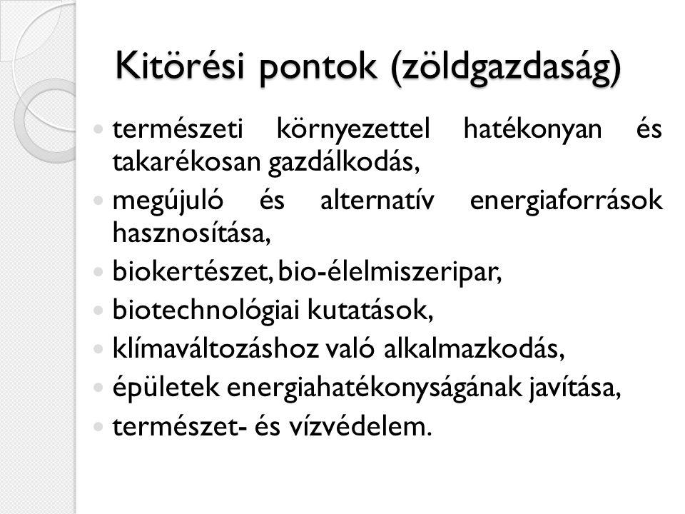Kitörési pontok (zöldgazdaság)  természeti környezettel hatékonyan és takarékosan gazdálkodás,  megújuló és alternatív energiaforrások hasznosítása,