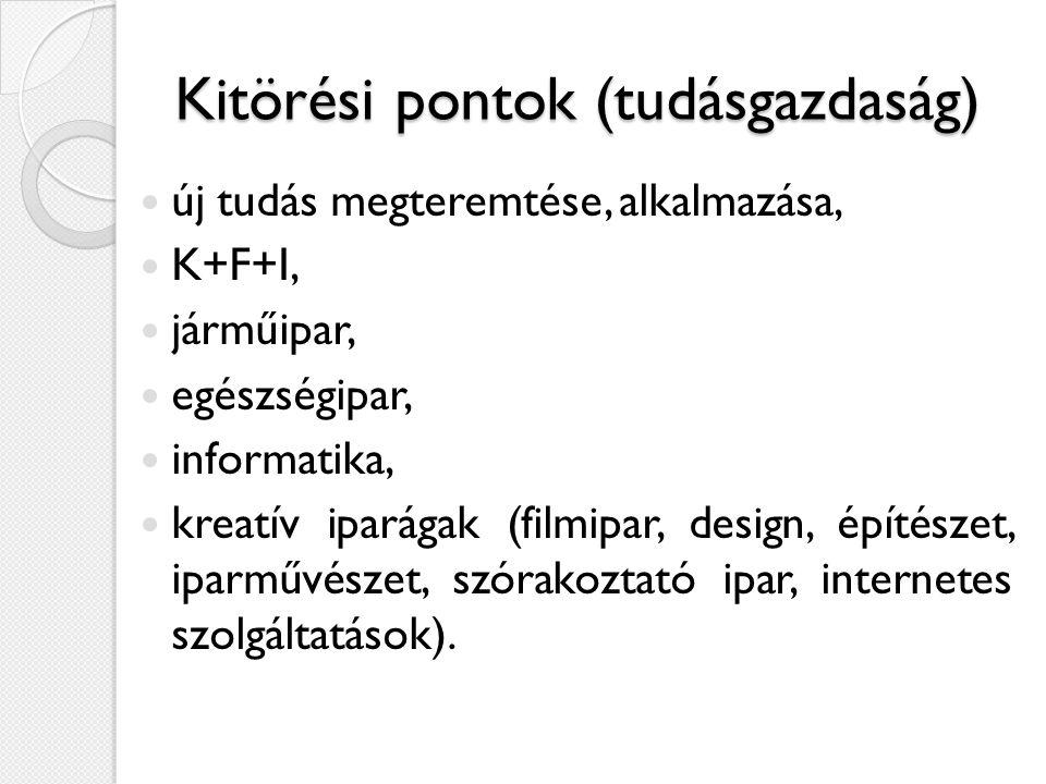 Kitörési pontok (tudásgazdaság)  új tudás megteremtése, alkalmazása,  K+F+I,  járműipar,  egészségipar,  informatika,  kreatív iparágak (filmipa