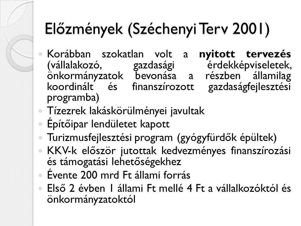 Előzmények (Széchenyi Terv 2001)  Korábban szokatlan volt a nyitott tervezés (vállalakozó, gazdasági érdekképviseletek, önkormányzatok bevonása a részben államilag koordinált és finanszírozott gazdaságfejlesztési programba)  Tízezrek lakáskörülményei javultak  Építőipar lendületet kapott  Turizmusfejlesztési program (gyógyfürdők épültek)  KKV-k először jutottak kedvezményes finanszírozási és támogatási lehetőségekhez  Évente 200 mrd Ft állami forrás  Első 2 évben 1 állami Ft mellé 4 Ft a vállalkozóktól és önkormányzatoktól