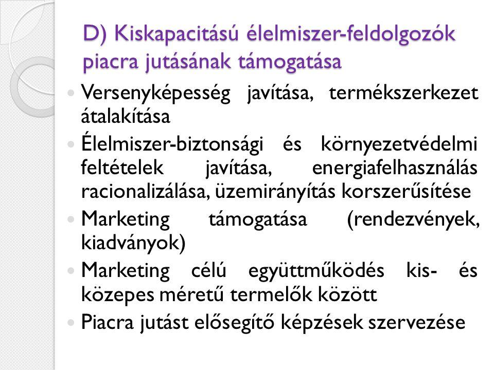 D) Kiskapacitású élelmiszer-feldolgozók piacra jutásának támogatása  Versenyképesség javítása, termékszerkezet átalakítása  Élelmiszer-biztonsági és környezetvédelmi feltételek javítása, energiafelhasználás racionalizálása, üzemirányítás korszerűsítése  Marketing támogatása (rendezvények, kiadványok)  Marketing célú együttműködés kis- és közepes méretű termelők között  Piacra jutást elősegítő képzések szervezése