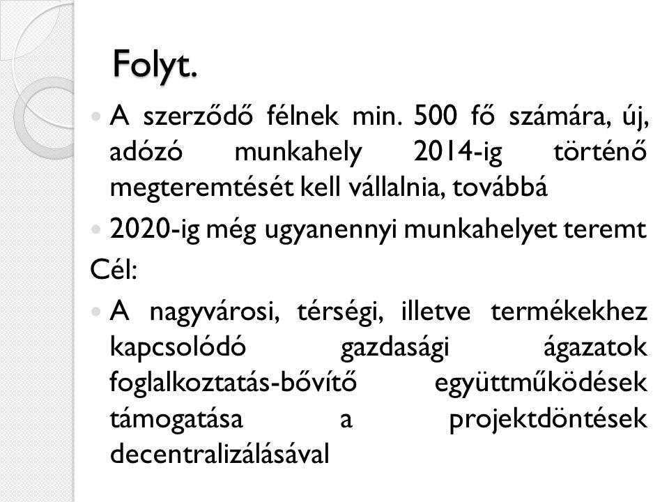 Folyt.  A szerződő félnek min. 500 fő számára, új, adózó munkahely 2014-ig történő megteremtését kell vállalnia, továbbá  2020-ig még ugyanennyi mun