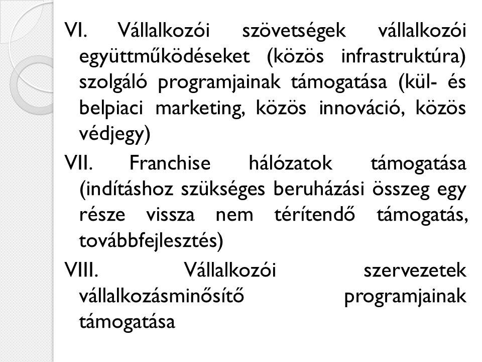 VI. Vállalkozói szövetségek vállalkozói együttműködéseket (közös infrastruktúra) szolgáló programjainak támogatása (kül- és belpiaci marketing, közös