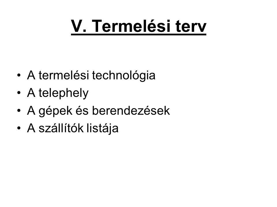 V. Termelési terv •A termelési technológia •A telephely •A gépek és berendezések •A szállítók listája