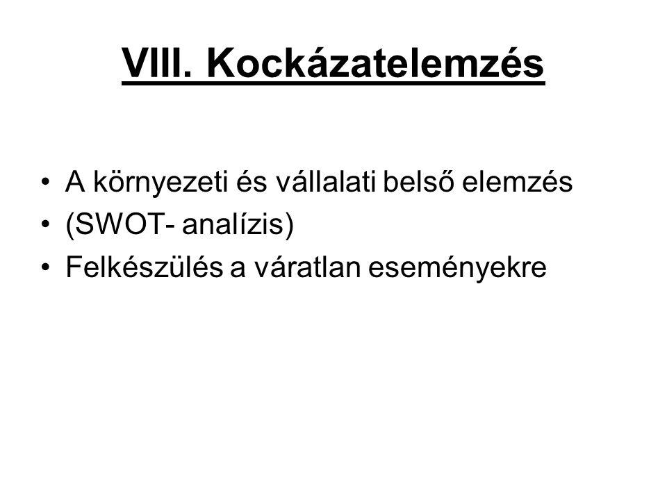 VIII. Kockázatelemzés •A környezeti és vállalati belső elemzés •(SWOT- analízis) •Felkészülés a váratlan eseményekre