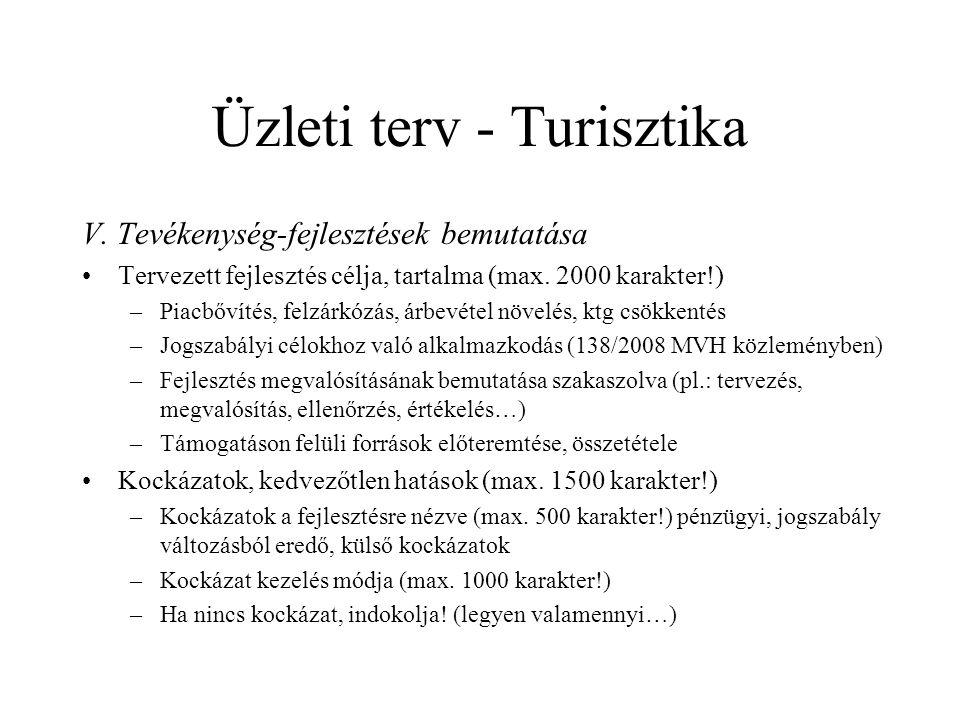 Üzleti terv - Turisztika V.