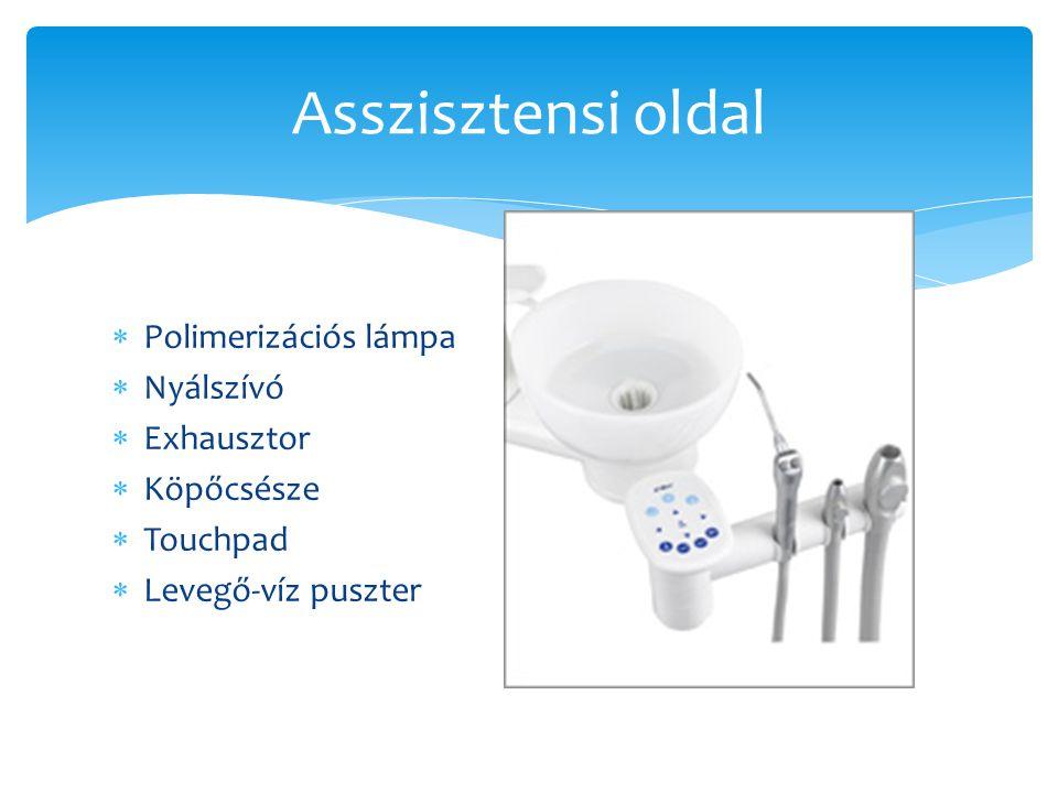 Asszisztensi oldal  Polimerizációs lámpa  Nyálszívó  Exhausztor  Köpőcsésze  Touchpad  Levegő-víz puszter