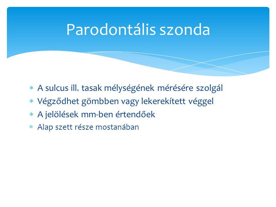 Parodontális szonda  A sulcus ill. tasak mélységének mérésére szolgál  Végződhet gömbben vagy lekerekített véggel  A jelölések mm-ben értendőek  A