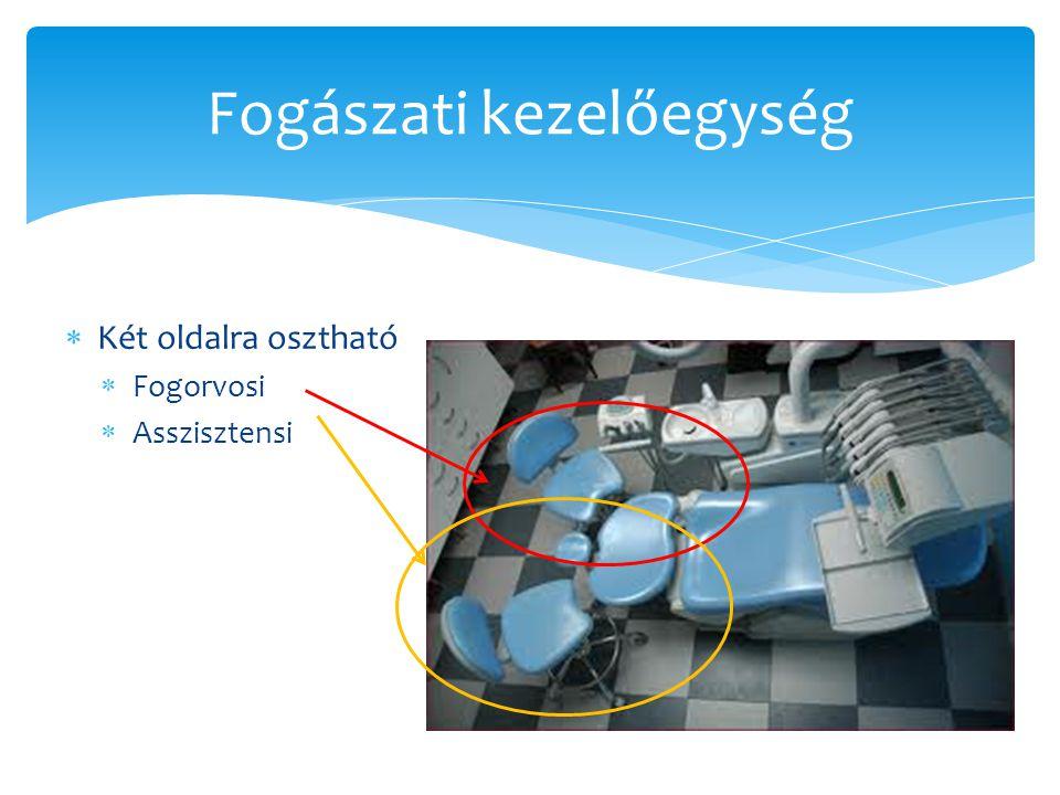 Tettek, tárolók  Színkódolás  Színes gumikkal a speciális műszerek, vagy egy művelethez használandó műszereket  Pl: kék a kompozitokhoz, vörös az amlgámokhoz  Lehet egész szettet is kódolni nem csak szóló műszereket  Ezeket egyben sterilizálják