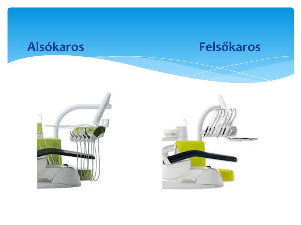 Kézidarabok  Turbina  450.000-500.000 fordulat/min  Könyök darab  Lassító, reduktor  300-  Normal  4.000-40.000  Gyorsító  -200.000  Egyenes darab