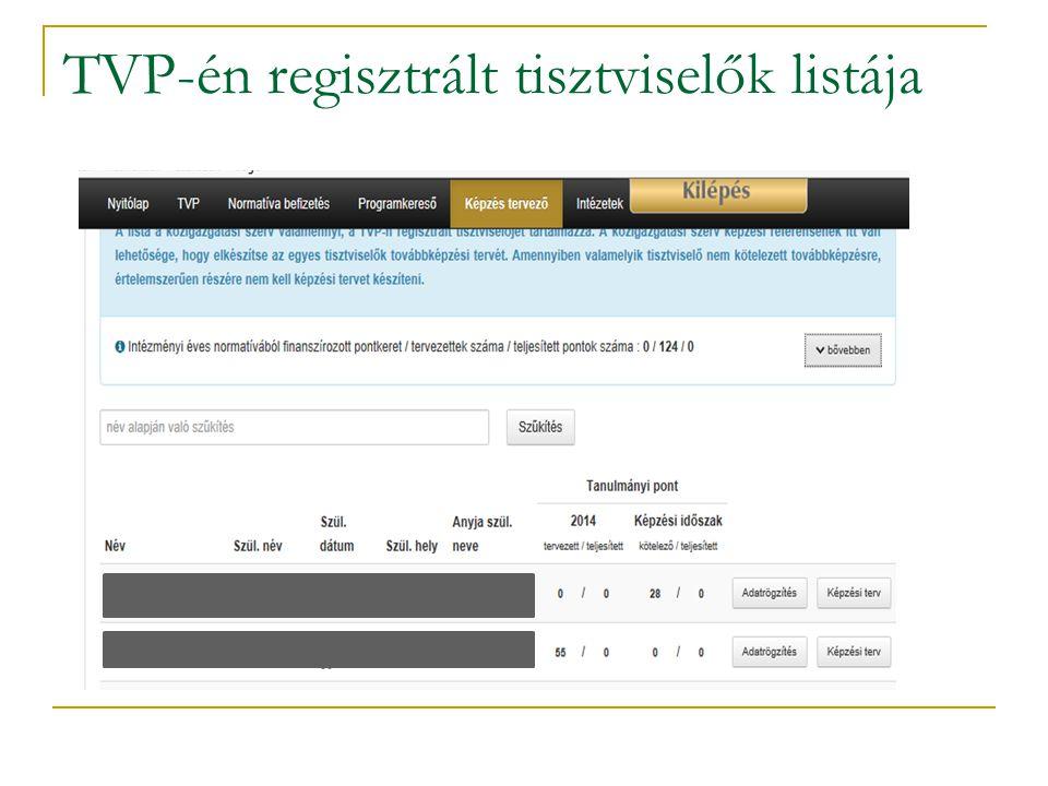 TVP-én regisztrált tisztviselők listája
