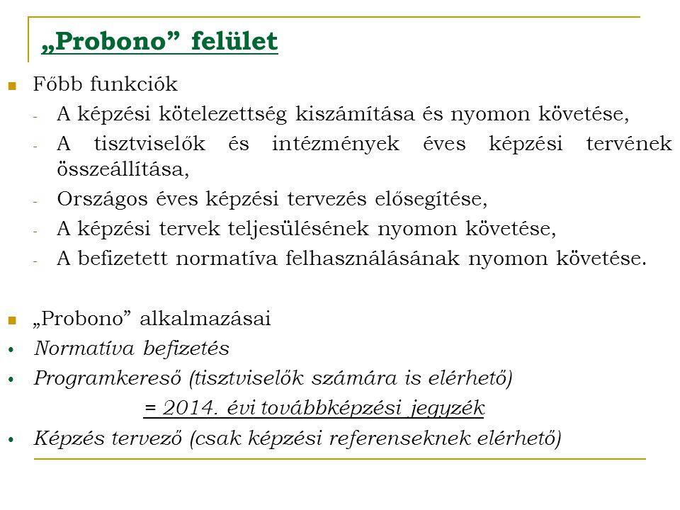 """""""Probono"""" felület  Főbb funkciók - A képzési kötelezettség kiszámítása és nyomon követése, - A tisztviselők és intézmények éves képzési tervének össz"""